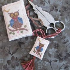 Mini Owl Needlebook and Scissors Fob - Jeannette Douglas Designs