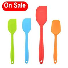 VAPSINT New Arrival Rubber Spatula Flex 4 Pieces Heat Resistant Silicone SpatulaMixer Colors Cooking Silicone Spatula Set ** Want additional info? Click on the image.-It is an affiliate link to Amazon. #KitchenUtensils