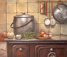 old fashioned stove & pots
