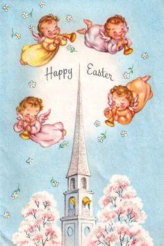 vintage Easter card angels