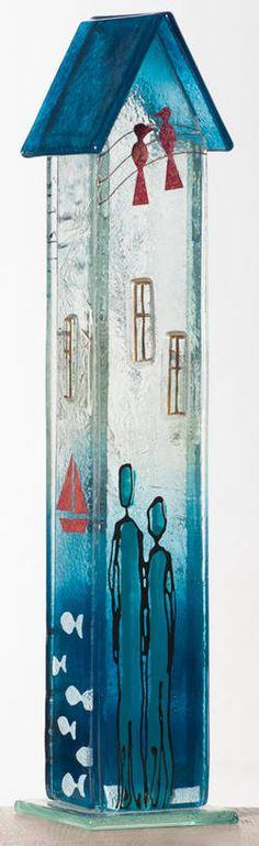 Møllehusets Glas: 53 - turkis hus 33 cm