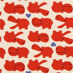 Cute off-white hippo and heart Kokka oxford fabric from Japan