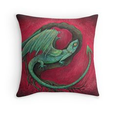 baby dragon game of thrones mother of dragons inspired lizard art printed cushion by Melanie Dann