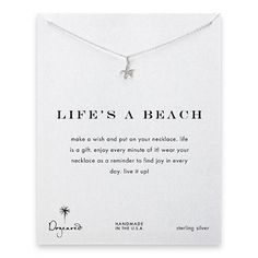 life's a beach reminder necklace with sterling silver starfish