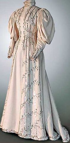 9fafb9d32e98 1890s princess line dress with Gigot sleeves. Século Xvii, Victorian Dresses,  Edwardian Dress