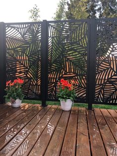 Laser cut privacy screens for interior/exterior use. Add a modern flair to your space while providing privacy around your backyard or deck. Made from high-quality aluminium and a UV protected powder coat, they're built to last. Fence Design, Patio Design, Garden Design, Backyard Patio, Backyard Landscaping, Patio Decks, Privacy Screen Outdoor, Deck Privacy Screens, Garden Screening