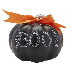"Black ""Boo!"" Pumpkin $15.99 #Gordmans #Halloween #HalloweenDecor #Pumpkin #Boo #Decorateifyoudarecontest"