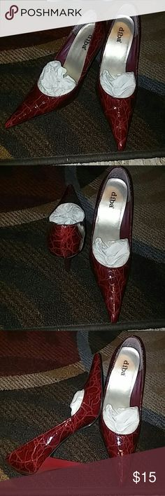 """Diba East """"Nancy"""" These stunning  3"""" red croc heels are great for the office or with jeans. They feature a pointy toe and burgundy croc pattern. They are practically brand new with 0 scuffs and markings, minimal wear on the sole. Diba Shoes Heels"""