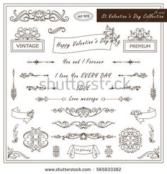 Vector set of Valentine day vintage elements for design. Ornamental frame, borders, monogram, corners, square, ribbon, arrows. Valentines day vignette. Different element in every set