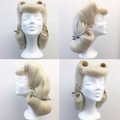 Easy Pin Curl Set for Retro Waves - Popular Vintage 1940s Hairstyles, Wig Hairstyles, Drag Wigs, Wig Styling, Retro Updo, Fashion Basics, Rockabilly Hair, Pin Up Hair, Wig Making
