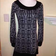 NWOT, Awesome Gray & Black Retro Styled Dress! NWOT- Gray & black retro style dress! Awesome print with black detail around neck, cuffs and bottom of dress. Size small purchases from Francesca's. No trades Francesca's Collections Dresses Long Sleeve