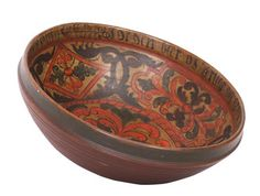 Ale bowl with orig. Rosepainting and verse, Talleiv Halvorson measure (approximately 1708-1787) (diameter: 35cm)