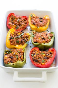 Healthy Mexican Quinoa and Turkey Stuffed Peppers | chefsavvy.com #recipe #healthy #quinoa #turkey #peppers #Mexican