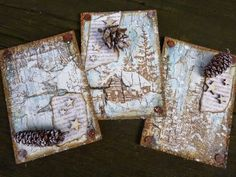 Yourself A Merry Little Christmas ATC's by Alison Bomber _ Words And Pictures.  Amazing colours and textures, love them!