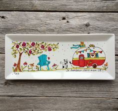 Serving Plate Porcelain, RV trailer, camping car, Hand painted by artist Isabelle Malo Pottery Painting, Ceramic Painting, Painted Plates, Hand Painted, Ceramic Cafe, Plate Presentation, Retro Caravan, Rv Trailers, Mason Jar Crafts