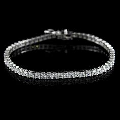 D/ VS Polished Sterling Silver Princess cut Tennis Bracelet Mother's Day Gift #Affinityhomeshopping #Tennis