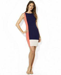 Macy's >> Lauren Ralph Lauren Sleeveless Colorblocked Bodycon Dress