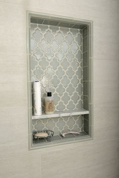 Smoke Arabesque Glass Tile 2019 {love this tile} Pretty shower niche using Smoke Glass Arabesque tile.subwaytileout The post Smoke Arabesque Glass Tile 2019 appeared first on Shower Diy. Bad Inspiration, Bathroom Inspiration, Creative Inspiration, Girl Bathroom Ideas, Kitchen Open Concept, Bathroom Renos, Bathroom Niche, Bathroom Renovations, Shower Bathroom