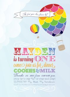 rainbow, hot air balloons, first birthday, bright colors