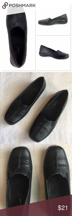 Easy Street Black Slip-Ons Very comfortable! Top stitching and perforations. Padded insole with arch support. 1 in. heel. No box. Size 6 1/2. Easy Street Shoes