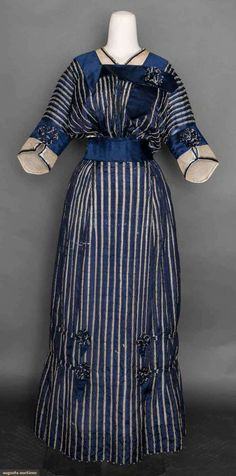 Blue and White day dress, 1912.