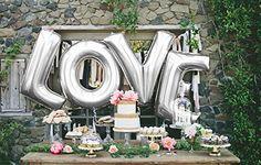 Love Letter - 101,6 cm/100 cm Folie Hochzeit Luftballons silber Buchstaben