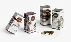 Trip Tea, Designed by Andrew Gorkovenko.  Check out the amazing illustration, all landscapes are handmade directly from the tea variety in the package