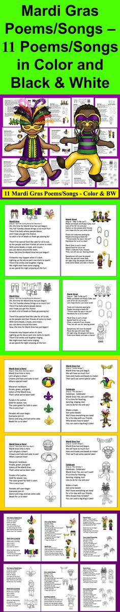 $ Mardi Gras Songs and Poems – 11 Songs/Poems For Shared Reading and Fluency- 16 page file – All Illustrated with Mardi Gras themed Graphics-Full Color, and Black and White for students to color. Songs/Poems sung to popular children's songs. Just choose those you like, and print just those pages. Sing to familiar tunes, or chant. Use some or all year after year.