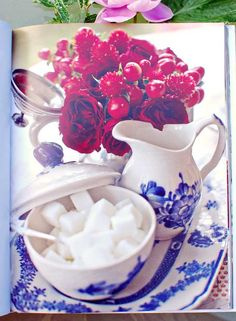 blue & red country style tea time table // make it beautiful by monica pederson