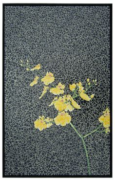 Eggshell Mosaic of Oncidium Orchids on Board. $4,000.00, via Etsy.