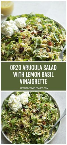 A zesty, peppery orzo arugula salad topped with sweet and tangy cranberries, sun-dried red peppers and a homemade lemon basil vinaigrette. Salad Recipes, Diet Recipes, Vegetarian Recipes, Cooking Recipes, Healthy Recipes, Recipies, Healthy Meals, Pasta Recipes, Healthy Food