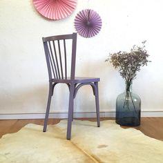 Chaise Baumann vintage, années 50, rénovée en mauve colombin - Mid centur modern chair, baumann, vintage, wood, mauve