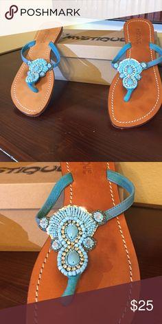 Mystique turquoise beaded sandal Mystique turquoise beaded sandal. Size 9 mystique Shoes Sandals