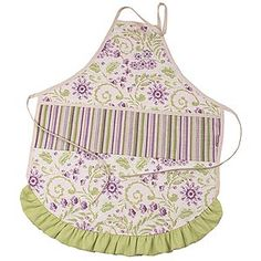 Hoohobbers matching child and adult aprons in the lilac garden design collection composes an understated garden of impressionistic lilacs using soft purples and brilliant green, creating a pillow beyond compare.