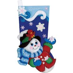 "Snowflake Snowman Stocking Felt Applique Kit-18"" Long"
