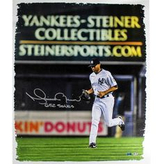 Mariano Rivera Signed Entering the Game Yankee-Steiner Collectibles Ad in the back ground 20x24 Canvas w 652 Saves Insc. (MLB Au