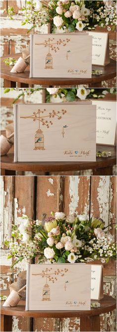 Rustic country leaser cut wood love birds wedding guest books @4LOVEPolkaDots