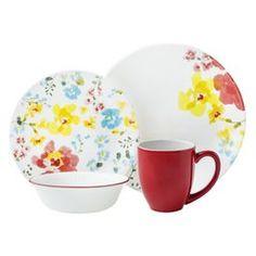 Corelle Cheerful Garden Dinnerware Set, Service for 4 Dinnerware Sets, China Dinnerware, Corelle Plates, Tableware, Tree Quilt, Porcelain Mugs, Stoneware Mugs, Plates And Bowls, Dinner Sets