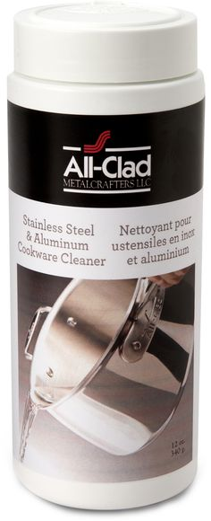Easily clean and restore the original luster to your All-Clad cookware with this stainless steel and aluminum cleaner. Made of natural minerals and environmentally safe ingredients, this cleaner will remove dirt and grime without harming cookware surfaces.