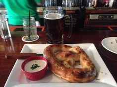 The Driftwood Publick House, Plymouth...Philly cheesesteak stuffed pretzel