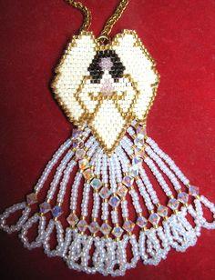 Best Beaded angels ideas on Beaded Earrings Patterns, Bead Loom Patterns, Beading Patterns, Seed Bead Art, Seed Bead Jewelry, Beaded Ornament Covers, Beaded Angels, Beaded Christmas Ornaments, Bead Loom Bracelets