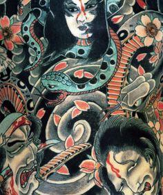 Horiyoshi III tattoo artwork red black green
