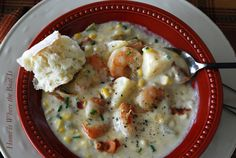 Cream of Plenty Soup with Shrimp, Corn and Onions from The Home Is Where The Boat Is site