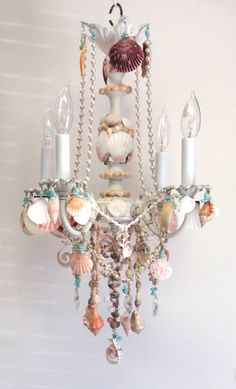 crystal and shell chandelier