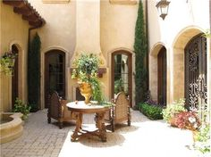 Fountain courtyard with fireplace...