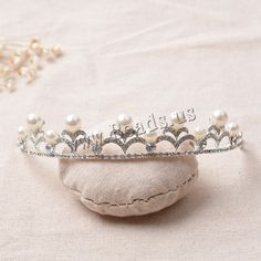 Tiaras, aleación de zinc, con Perlas de plástico ABS, chapado en color de plata, para novia & con diamantes de imitación, libre de plomo & cadmio, 145mm, 3PCs/Bolsa, Vendido por Bolsa,Abalorios de joyería por mayor de China