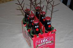 Reindeer root beer bottles. Could also do water bottles?