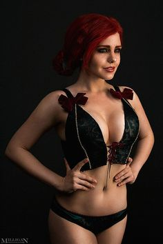 The Witcher Wild Hunt Triss Merigold gothic lace lingerie underwear cosplay costume accessory game movie Handmade Custom Order