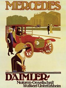 DAIMLER MERCEDES 1914 Vintage Ad Poster Reprint - available at www.sportsposterwarehouse.com