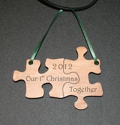 Our First Christmas Together Puzzle Ornament laser engraved and cut. $9.00, via Etsy.